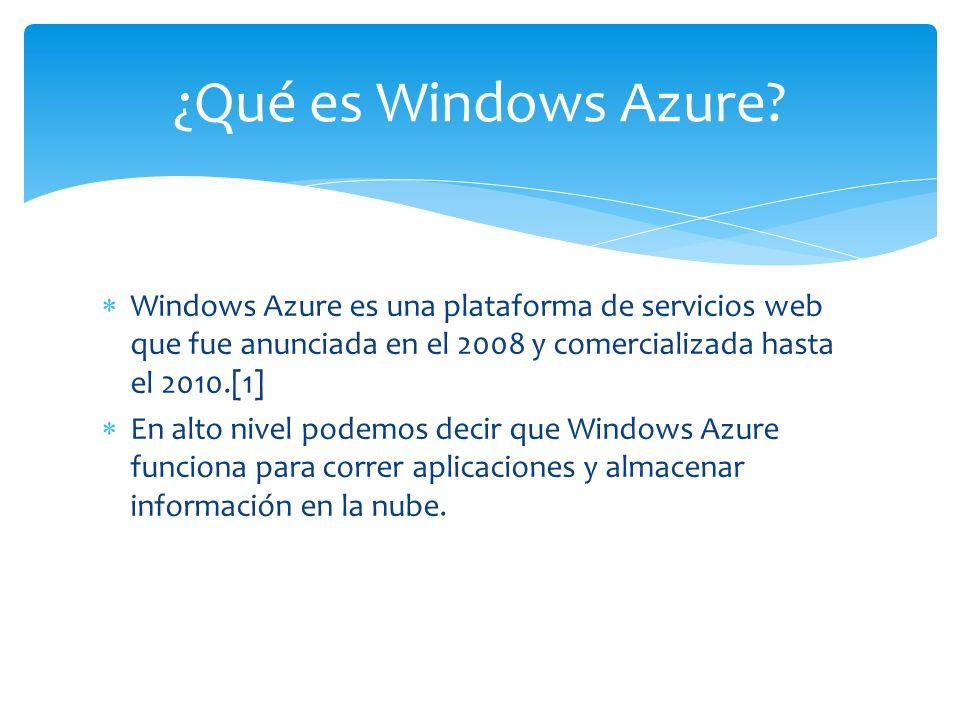 ¿Qué es Windows Azure Windows Azure es una plataforma de servicios web que fue anunciada en el 2008 y comercializada hasta el 2010.[1]